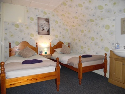 A good sized Twin room with Wi-fi, TV including FreeView, Tea and Coffee making facilities. There is a wash basin in the room. The separate shower and a separate toilet is shared with one other room only. Tea / Coffee Making, TV with Freeview, Free WiFi - Includes Breakfast